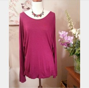 Trendy Burgundy Soft Knit Long Sleeve Top